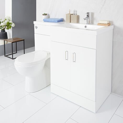 Milano Ren - White Modern Bathroom Right Hand Combination Toilet WC and Basin Unit - 1105mm x 770mm