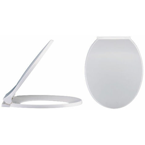 Milano Richmond – Modern White Bathroom Toilet WC Seat with Bottom Fix Soft Close Hinges - 350mm x 420mm