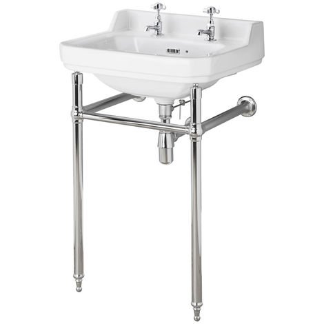 Milano Richmond - Traditional White Ceramic Bathroom Basin Sink and Washstand with Two Tap Holes - 500mm x 350mm