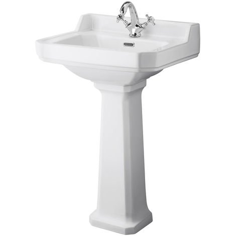 Milano Richmond - Traditional White Ceramic Bathroom Basin Sink with Full Pedestal and One Tap Hole - 560mm x 450mm