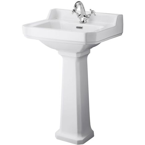 Milano Richmond - Traditional White Ceramic Bathroom Basin Sink with Full Pedestal and One Tap Hole - 595mm x 470mm