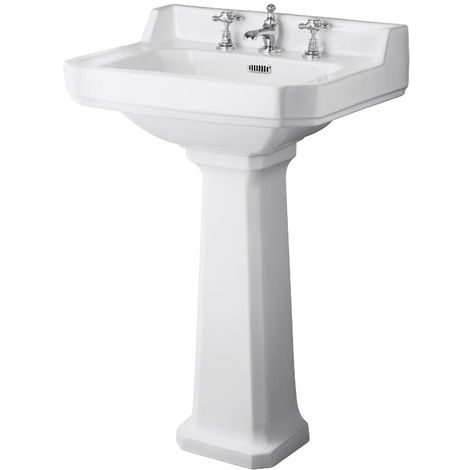 Milano Richmond - Traditional White Ceramic Bathroom Basin Sink with Full Pedestal and Three Tap Holes - 560mm x 450mm