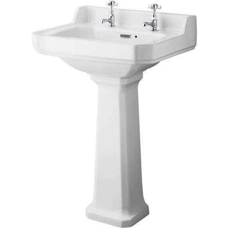 Milano Richmond - Traditional White Ceramic Bathroom Basin Sink with Full Pedestal and Two Tap Holes - 560mm x 450mm
