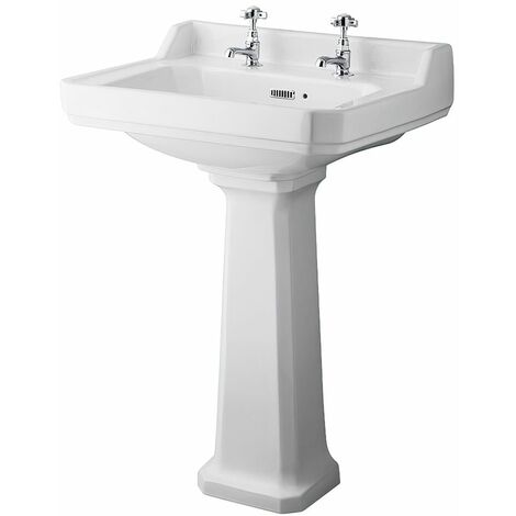 Milano Richmond - Traditional White Ceramic Bathroom Basin Sink with Full Pedestal and Two Tap Holes - 595mm x 470mm