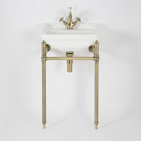 """main image of """"Milano Richmond - Traditional White Ceramic Bathroom Basin Sink with One Tap Hole and Brushed Gold Washstand - 500mm x 350mm"""""""
