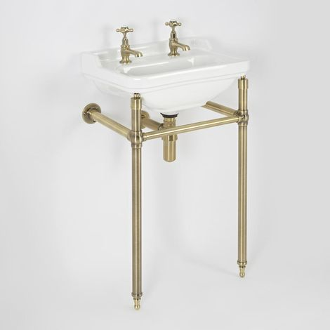 """main image of """"Milano Richmond - Traditional White Ceramic Bathroom Basin Sink with Two Tap Holes and Brushed Gold Washstand - 500mm x 350mm"""""""