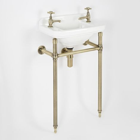 Milano Richmond - Traditional White Ceramic Bathroom Basin Sink with Two Tap Holes and Brushed Gold Washstand - 515mm x 300mm