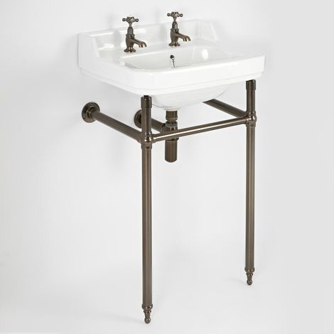 Milano Richmond - Traditional White Ceramic Bathroom Basin Sink with Two Tap Holes and Oil Rubbed Bronze Washstand - 560mm x 450mm