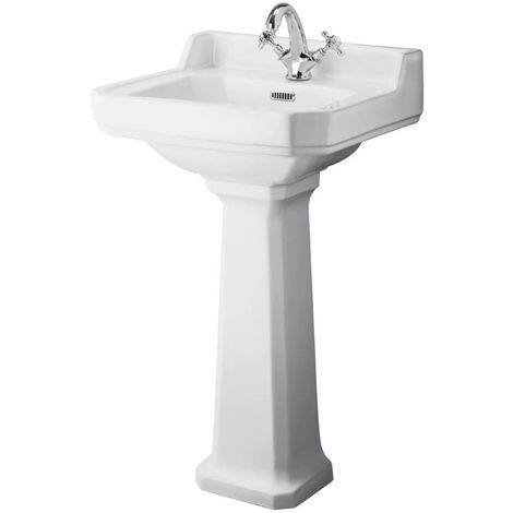 Milano Richmond - Traditional White Ceramic Bathroom Cloakroom Basin Sink with Full Pedestal and One Tap Hole - 500mm x 350mm