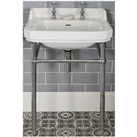 Milano Richmond - Traditional White Ceramic Square Bathroom Basin Sink with Chrome Washstand and 2 Tap Holes - 560mm x 450mm
