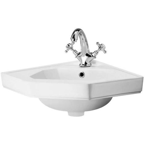 Milano Richmond - Traditional White Ceramic Wall Hung Corner Bathroom Basin Sink with One Tap Hole - 450mm x 420mm