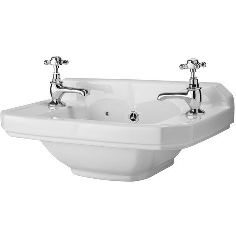 Milano Richmond - Traditional White Ceramic Wall Hung Square Bathroom Basin Sink with Two Tap Holes - 515mm x 300mm