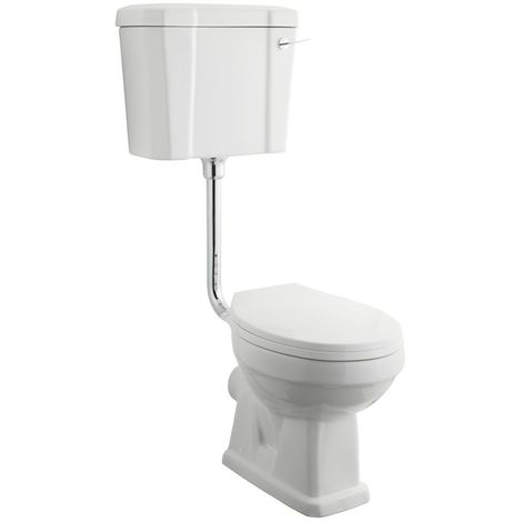 """main image of """"Milano Richmond - White Ceramic Traditional Bathroom Toilet Pan WC with Low Level Cistern, White Wooden Seat and Flush Pipe Kit"""""""
