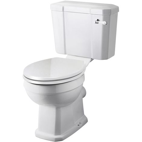 Milano Richmond - White Ceramic Traditional Close Coupled Bathroom Toilet Pan WC and Cistern with Chrome and White Flush Lever Handle and Soft Close Seat