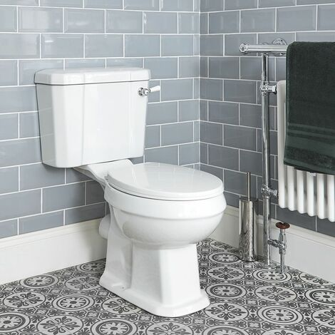 Milano Richmond - White Ceramic Traditional Close Coupled Bathroom Toilet Pan WC and Cistern with Flush Lever Handle and Soft Close Seat