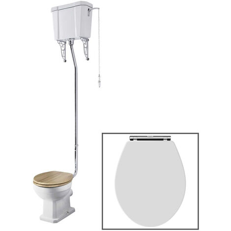 Milano Richmond - White Ceramic Traditional Close Coupled Bathroom Toilet Pan WC and High Level Cistern with  Wooden Seat