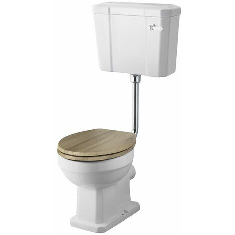 Milano Richmond - White Ceramic Traditional Close Coupled Bathroom Toilet Pan WC and Low Level Cistern with Wooden Seat