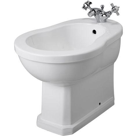 Milano Richmond - White Ceramic Traditional Floorstanding Bathroom Bidet - 405mm x 390mm