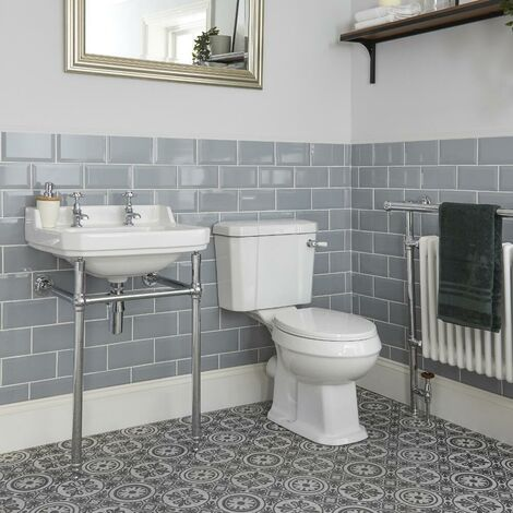 Milano Richmond - White Traditional Ceramic Close Coupled Toilet WC and Bathroom Basin Sink with Washstand