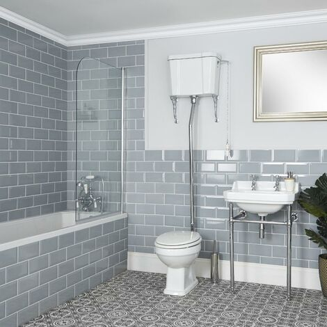 Milano Richmond - White Traditional Ceramic Toilet Pan WC with High Level Cistern and Bathroom Basin Sink with Washstand