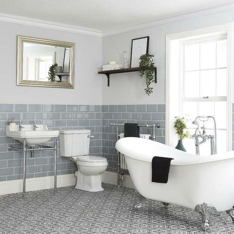 Milano Richmond - White Traditional Double Ended Freestanding Slipper Bath  Ceramic Close Coupled Toilet WC and Bathroom Basin Sink with Washstand