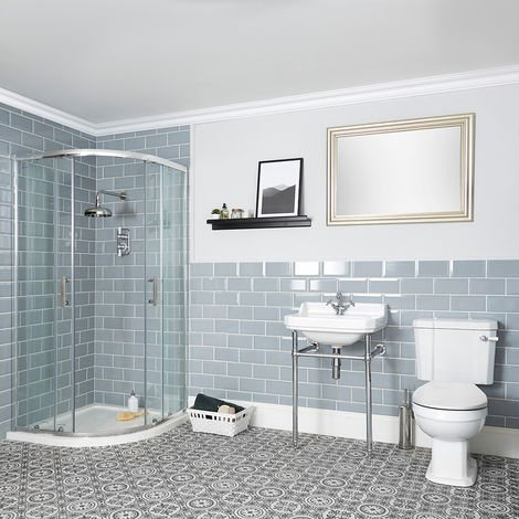 Milano Richmond - White Traditional Reversible Quadrant Shower Enclosure, Ceramic Close Coupled Toilet and Bathroom Basin Sink with One Tap Hole and Chrome Washstand
