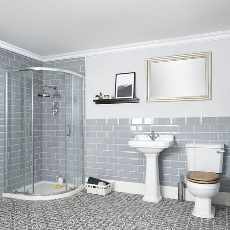 Milano Richmond - White Traditional Reversible Quadrant Shower Enclosure, Ceramic Close Coupled Toilet and Full Pedestal Bathroom Basin Sink with One Tap Hole