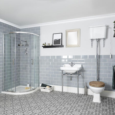 Milano Richmond - White Traditional Reversible Quadrant Shower Enclosure  Ceramic Toilet WC Pan with High Level Cistern and Bathroom Basin Sink with Washstand
