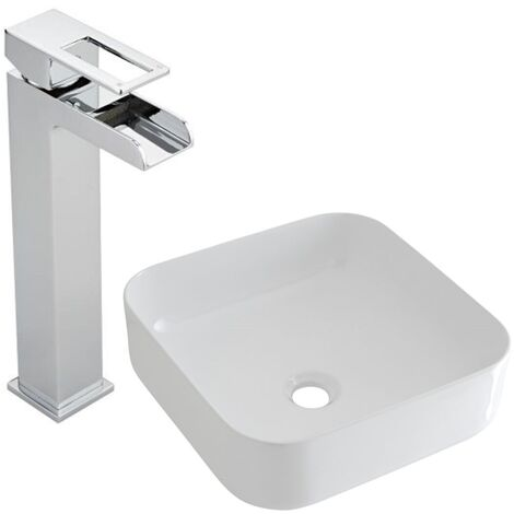 Milano Rivington - Modern White Ceramic 360mm Square Countertop Bathroom Basin Sink and High Rise Waterfall Mono Basin Mixer Tap