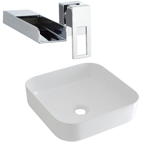 Milano Rivington - Modern White Ceramic 360mm Square Countertop Bathroom Basin Sink and Wall Mounted Waterfall Basin Mixer Tap