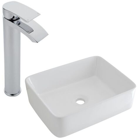 Milano Rivington - Modern White Ceramic 480mm x 370mm Rectangular Countertop Bathroom Basin Sink and High Rise Mono Basin Mixer Tap