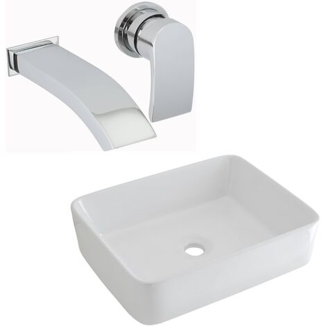 Milano Rivington - Modern White Ceramic 480mm x 370mm Rectangular Countertop Bathroom Basin Sink and Wall Mounted Basin Mixer Tap