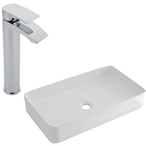 Milano Rivington - Modern White Ceramic 600mm x 340mm Rectangular Countertop Bathroom Basin Sink and High Rise Mono Basin Mixer Tap