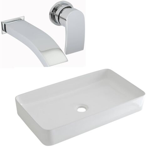 Milano Rivington - Modern White Ceramic 600mm x 340mm Rectangular Countertop Bathroom Basin Sink and Wall Mounted Basin Mixer Tap