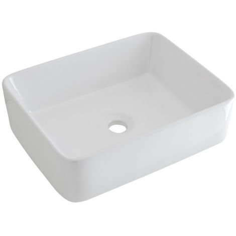 Milano Rivington - Modern White Ceramic Rectangular Countertop Bathroom Basin Sink - 480mm x 370mm