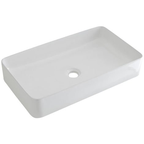 Milano Rivington - Modern White Ceramic Rectangular Countertop Bathroom Basin Sink - 600mm x 340mm