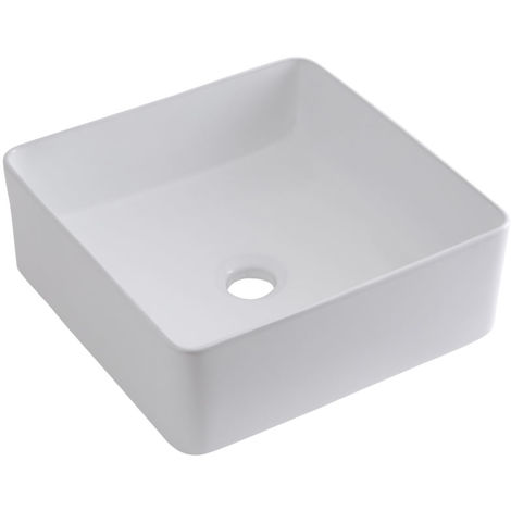 Milano Rivington Square White Ceramic Counter Top Basin - 360 mm