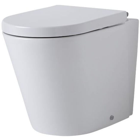 Milano Rivington - White Ceramic Modern Back to Wall Toilet Pan WC and Soft Close Seat
