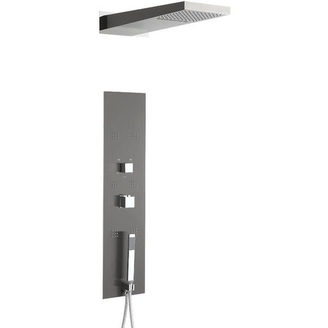 Milano Ryuku - Modern Concealed Thermostatic Shower Tower Panel with Rainfall Shower Head, Body Jets, Hand Shower Handset and Waterblade Function - Grey