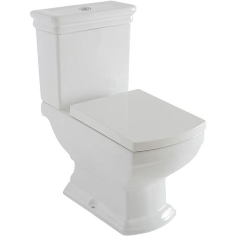 Milano Sandringham - Traditional Square White Ceramic Close Coupled WC Toilet with Cistern and Soft Close Seat