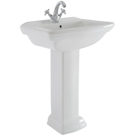 Milano Sandringham - Traditional White Ceramic Bathroom Basin Sink with Full Pedestal and One Tap Hole - 605mm x 470mm