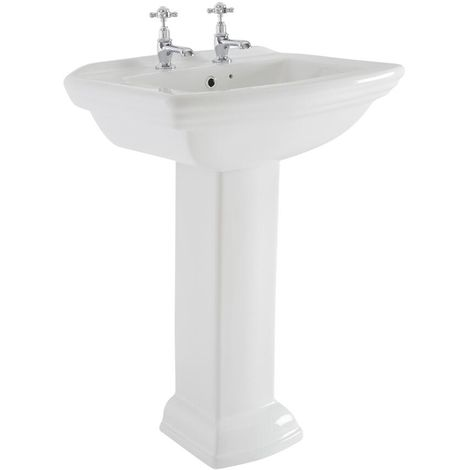 Milano Sandringham - Traditional White Ceramic Bathroom Basin Sink with Full Pedestal and Two Tap Holes - 605mm x 470mm
