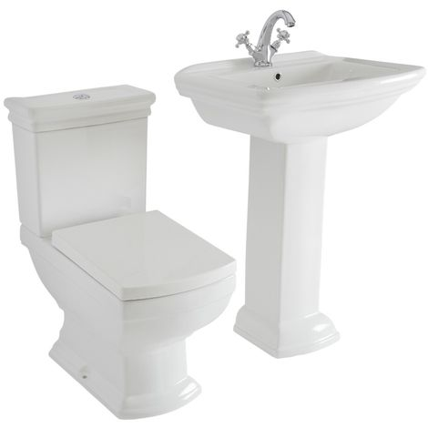 Milano Sandringham - White Ceramic Traditional Close Coupled Toilet WC and Bathroom Basin Sink with Full Pedestal and One Tap Hole
