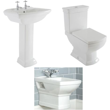 """main image of """"Milano Sandringham - White Traditional Ceramic Close Coupled Toilet WC  Wall Hung Bidet and Full Pedestal Bathroom Basin Sink"""""""