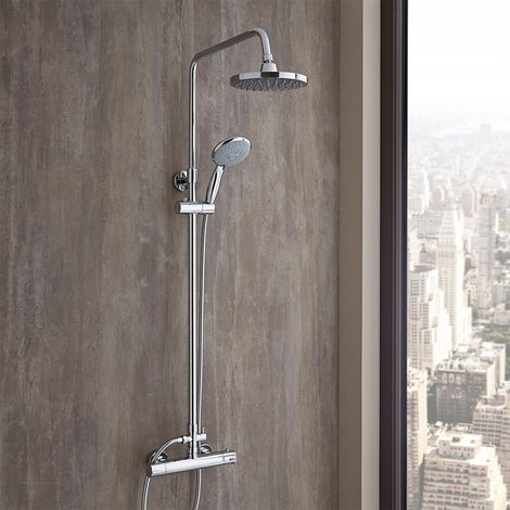 Milano Select - Modern Round Thermostatic Bar Mixer Shower Valve with Telescopic Riser Rail, Round Fixed Shower Head and Hand Shower Handset - Chrome