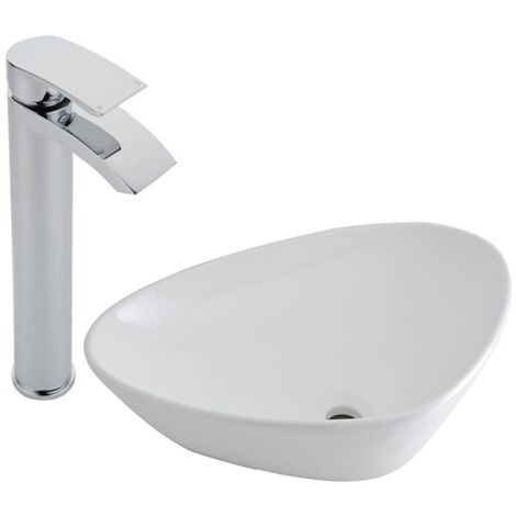 Milano Select - Modern White Ceramic 590mm x 390mm Countertop Bathroom Basin Sink and High Rise Mono Basin Mixer Tap