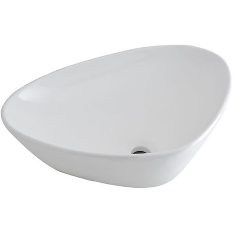 Milano Select - Modern White Ceramic Countertop Bathroom Basin Sink – 590mm x 390mm
