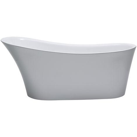 Milano Select - Silver Modern Bathroom Freestanding Slipper Bath - 1710mm x 745mm
