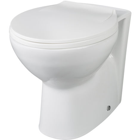 Milano Select - White Ceramic Modern Back to Wall Toilet Pan WC and Soft Close Seat – 355mm x 520mm