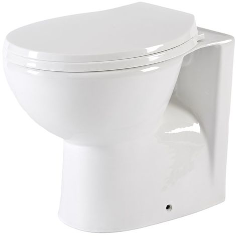 Milano Select - White Ceramic Modern Back to Wall Toilet Pan WC and Soft Close Seat